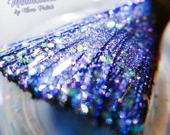 SALE Last 2! Moonstone by NOVA polish - Opal Nail Polish, Blue Shimmer Polish, Pastel Blue, Periwinkle Holo, Slate Gray Polish, Indie Polish