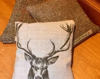 Stag print & Harris tweed fabric lavender bag