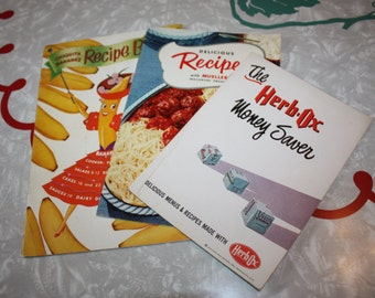 Promotional Cookbook Booklets, Chiquita Banana, Herb-Ox, Muellers, Vintage 3-Piece Set