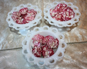 Vintage Milk Glass Round Vases / Compotes with Heart, Lace Edge, 3-Piece Set
