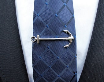 Anchor tie bar. Anchor tie clip. Tie bar. Tie clip. Silver tie bar. Groomsmen gift. Groom tie clip. Wedding tie clip. Wedding gift.