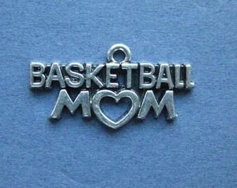 5 Basketball Mom Charms - Basketball Mom Pendants - Basketball - Basketball Charm - Sports Charm - Antique Silver - 23mm x 15mm - (A6-12142)
