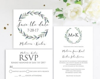 Simple Watercolor Wedding Invitation, Greenery Wedding Invitation, Modern Wedding Invite