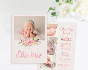 Simple Baby Girl Birth Announcement, Floral Birth Announcement, Baby Girl Announcement, Modern Birth Announcement, Photo Announcement