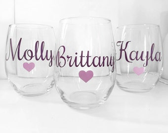 SET OF 8, Custom wine glass, Bridal shower gift, maid of honor gift, Bridal gift, custom bridal gift,personalized wine glass, bridesmaid cup