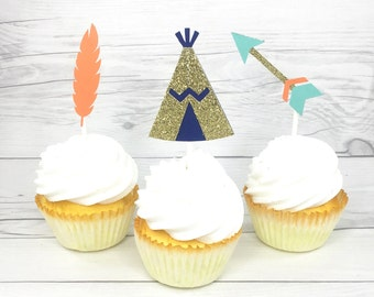 Boho cupcake toppers, teepee cupcake toppers, feather cupcake toppers, arrow cupcake toppers, aztec party, boho party, pow wow, wild one
