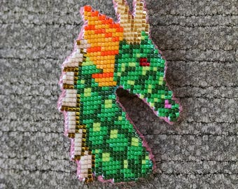Beaded Dragon Head, Green, Gold, Orange, Brown, and Red Dragon Pin / Brooch Off Loom Style, Fantasy Jewelry