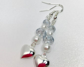 Blue Crystal Earrings Silver Heart Wedding Jewelry Crystal Bridesmaid Gift Bridal Party Gift Beaded Crystal Drops Mother of the Bride Gift