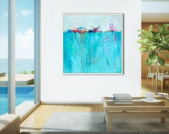 Coastal wall art, soothing art blue marine wall art,, abstract art painting PRINT,  large original painting print, contemporary art GICLEE