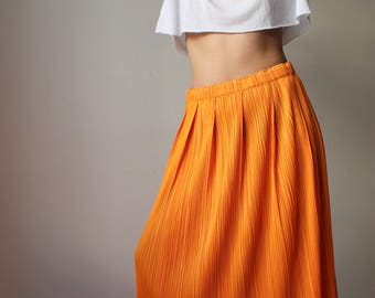 Fanta / ISSEY MIYAKE / Pleats Please / long pleated skirt / Orange / Vintage / Made In Japan