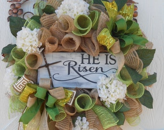 Easter burlap wreath, Easter mesh wreath, He Is Risen Easter wreath, Easter hydrangea wreath, Religious Easter wreath, Burlap wreath