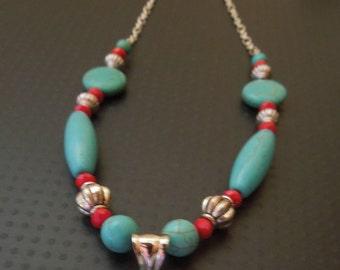 BoHo Southwestern Turquoise Statement Pendant necklace Hand made