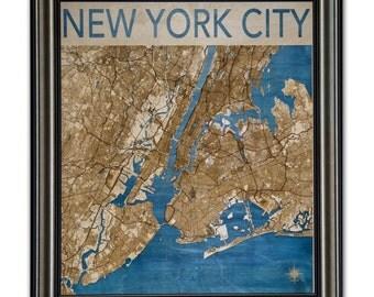 New York City Wood Engraved 2D City Map - 26x30 - Laser Cut Map Decor