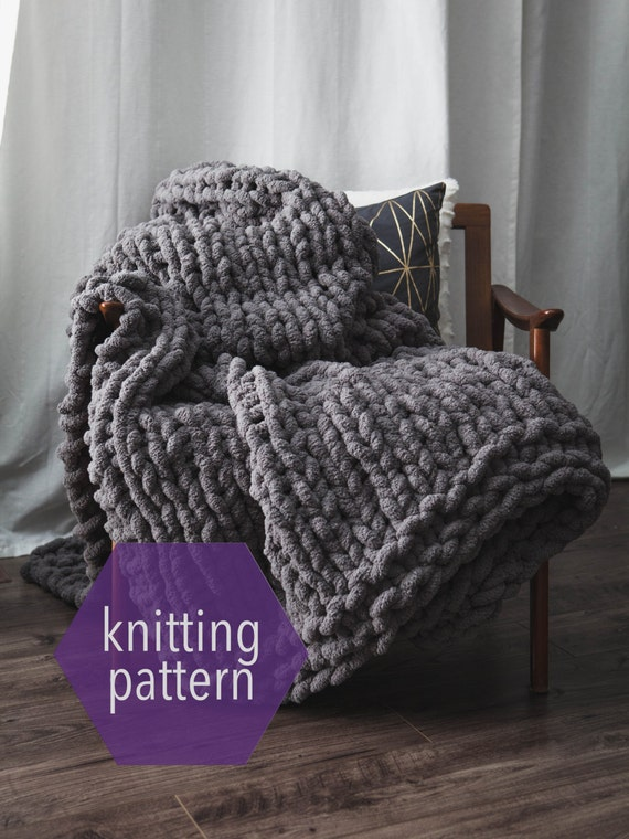 Huge chunky knit blanket knitting pattern instant download for How to make a big chunky knit blanket
