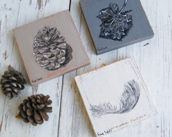 Miniature pictures, set of 3, Nature pictures, Print on wood, Rustic home decor, Housewarming gift, Office decor