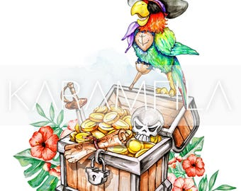 Pirate Nursery Decor, Nautical Nursery Wall Art, Kids Art, Floral Watercolor Painting, Captain Sailor, Boys Room Parrot Print, Skull Print