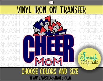 Cheer Mom Vinyl Iron On Transfer, Cheer Mom Iron on Decal for Shirt