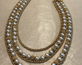 Vintage Crown Trifari Necklace Gold Tone Chain and Faux Pearl Multi Strand Textured Brushed Finish Elegant Mid Century Jewelry Gift for Her