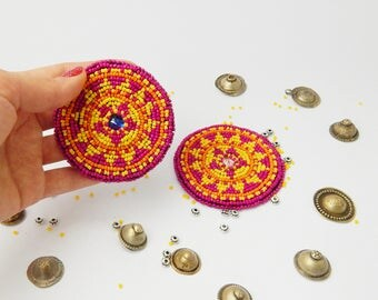 Afghani Beadwork Tribal Beadwork Kuchi Accessories Tribal Talisman Ethnic Beadwork Beaded Medallion Gul i Peron Gul-i-peron Tribal Disk