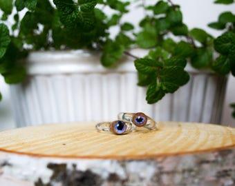 Handmade Amber Purple Eyeball Glass Eye Ring