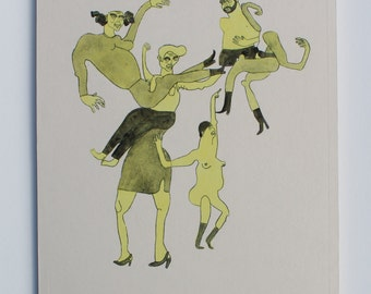 Dancing Mob 1 (Handcoloured Drypoint Etching, 2015)