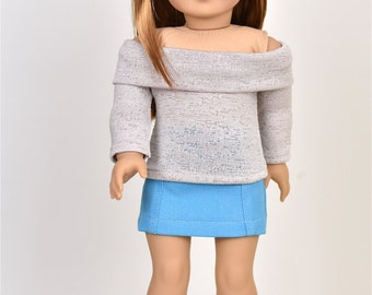 Long Sleeve Off The Shoulder Sweater 18 inch doll clothes COLOR Beige