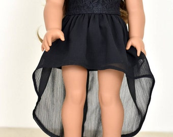 High Low Skirt 18 inch doll clothes color Black
