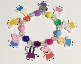 Peppa Pig Charm Bracelet, Peppa Pig Charm Bracelet, Peppa Pig Charm Necklace, Peppa Pig Party Favors, Peppa Pig Party Favors