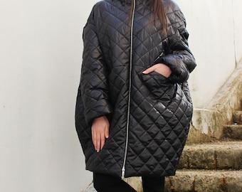 Black Coat/ Winter Coat/ Warm Coat/ Black Jacket/ Oversized Coat/Quilted Coat/Womens Coat/ Extravagant Jacket/ by FRKT C0019