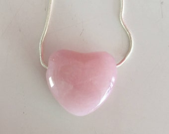 Rose Quartz HEART Necklace infused w/ Reiki Perfect Mother's Day Gift