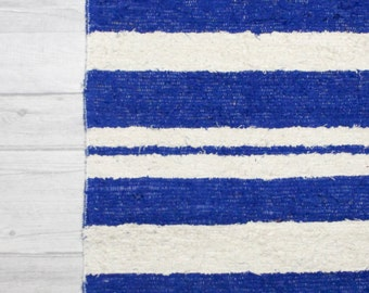 Blue rug, white rug, Bathroom mat rug, Blue striped rug, Sea area rug. Nautical rug Handwoven Cotton cotton | eco friendly | Washable.
