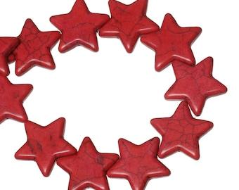 15 Red Star Howlite Beads, Howlite Beads, 7086, 912a