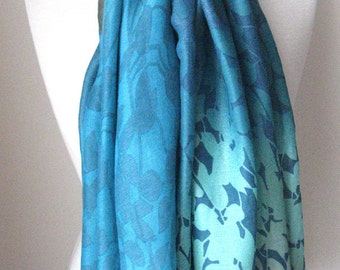 Blue long scarf with blue and orange leaves - Long and light weight scarf for spring, summer and fall