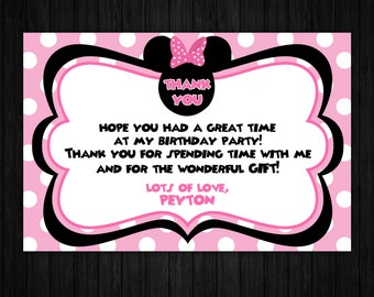 Minnie Mouse Thank You Card ONLY, minnie mouse birthday, minnie mouse printable, minnie mouse party supplies, minnie mouse invite