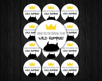 Where the Wild Things Are Favor Tags ONLY, where the wild things are invitation, where the wild things are printables