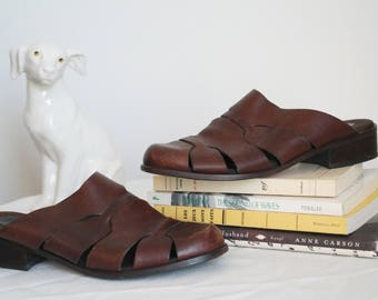 90s cage leather slip on mules size 7 backless flats closed toe caged slides minimal