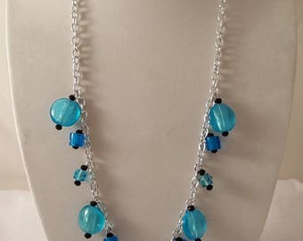 Blue & Silver Jewelry Set - Silver Chain Necklace - 2 Pc Jewelry Set - Blue Necklace - Blue Earrings - Dangle Necklace - Chain Necklace Blue