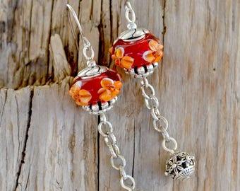 Lampwork Earrings, Glass Lampwork Earrings, Lampwork Flower Earrings, Floral Lampwork Earrings, Floral Glass Earrings, Red Lampwork (E284)