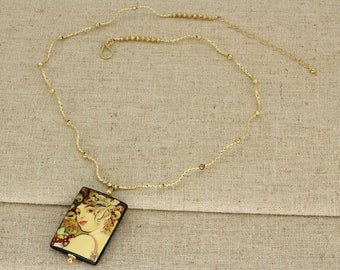 BN227- Golden tube necklace with hand painted miniature portrait