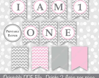 SALE - Gray & Pink 1st Birthday Banner - I am One Banner - I am 1 - Printable Girl Birthday Banner - Light Gray Pastel Pink 22-20