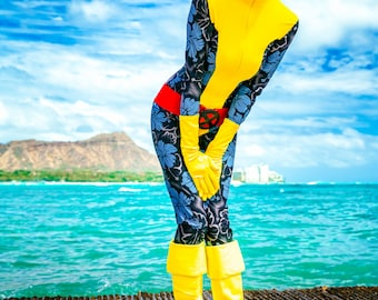 """Pre-Owned   Hawaiian Print """"Aloha"""" Kitty Pryde Shadow Cat X-Men Cosplay Costume [Size: SMALL]"""