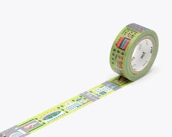 MT Kids Work - Town, MT Tape, Japanese Washi Tape, Decorative Tape, Deco Tape, mt Washi Tape, mt Masking Tape, washi tape kids, Green Washi