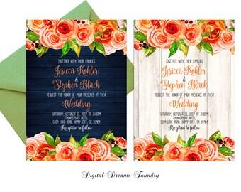 Orange Floral Wedding Invitation Printable Navy Blue Wedding Romantic Rose Wedding Spring Summer Fall Wedding Rustic Wedding Country