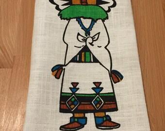 Vintage Bahah-Zhonie Frank Austin Kachina Tea Towel | Buffalo Kachina 1970s Hand Screened Nizhonie Fabrics Inc Navajo