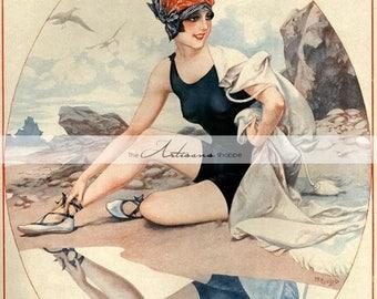 Printable Art Instant Download - La Vie Parisienne Bathing Beauty French Poster Antique Art Image - Paper Crafts Scrapbooking Altered Art