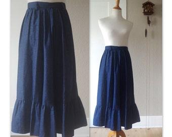 1970's Vintage Denim Midi Skirt High 24 inch Waist Ruffled Hem Western Boho xs