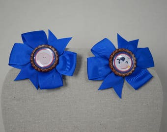 Down On The Farm Basic Pinwheel Hair Bow Set Of 2 Pig Tail Bows