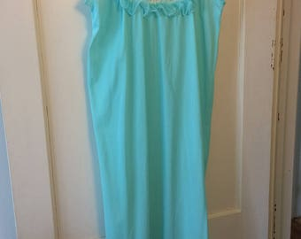 Vintage Blue Chiffon and Lace Night Gown - 1960s Size M Medium