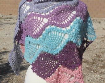 Grey, Blue, Purple, and Pink Wool Triangular Crocheted Shawl of Pineapple Motifs