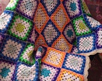 Crochet Baby Blanket Granny Squere Baby Gift Granny Squere Blanket Crochet Baby Afghan Baby shower gift cover Granny Squere Afghan